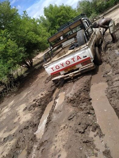 toyota truck on the mud